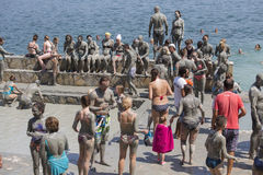 People are taking a mud bath. Mud baths are great for the skin. Dalyan, Turkey Stock Photo
