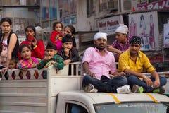 People taking part in car procession during Guru Nanak Gurpurab Royalty Free Stock Photo