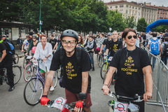 People taking part in Cyclopride 2014 Stock Photography