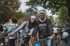 People taking part in the Ice Ride 2014 in Milan, Italy Stock Photo