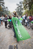 People taking part in the Ice Ride 2014 in Milan, Italy Stock Images