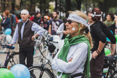 People taking part in the Ice Ride 2014 in Milan, Italy Royalty Free Stock Images
