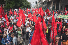 People taking part in the Liberation Day parade in Milan Royalty Free Stock Photo