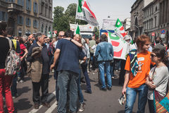People taking part in the Liberation Day parade in Milan Royalty Free Stock Photos
