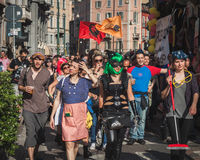 People taking part in Mayday parade in Milan, Italy Royalty Free Stock Images