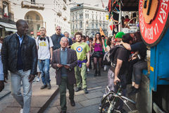 People taking part in Mayday parade in Milan, Italy Stock Image