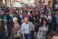People taking part in Mayday parade in Milan, Italy Royalty Free Stock Photo