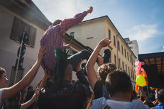 People taking part in Mayday parade in Milan, Italy Royalty Free Stock Image