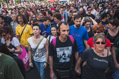 People taking part in Mayday parade in Milan, Italy Royalty Free Stock Photos