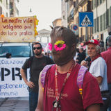 People taking part in Mayday parade in Milan, Italy Stock Photography