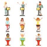 People taking part at quiz show set, players answering questions standing at stand with buttons vector Illustrations. On a white background Royalty Free Stock Photography
