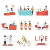People taking part in a TV show set, entertainment, culinary, fashion, fitness shows on TV vector Illustrations on a