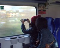 People taking photo. Of cityscapes in tuscany Stock Images