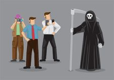 People Taking Photo of Grim Reaper Cartoon Vector Illustration. Curious people crowding around and taking photo of Grim Reaper cartoon vector illustration Stock Photos