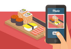 People taking photo of their food Stock Images