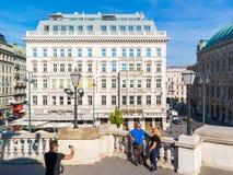 People taking photos on Albertinaplatz in Vienna, Austria Stock Photos