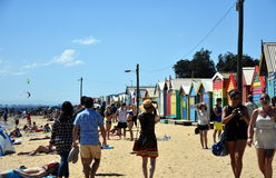 People taking photos at the bathing boxes Royalty Free Stock Images