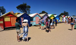People taking photos at the bathing boxes Stock Image