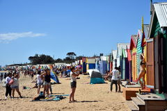 People taking photos at the bathing boxes Royalty Free Stock Image