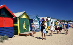 People taking photos at the bathing boxes Stock Photos