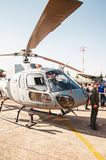 People taking photos with the Navy helicopter: Marinha N-7057. Campo Grande, Brazil - September 09, 2018: People at the military air base to visit the Portoes royalty free stock image