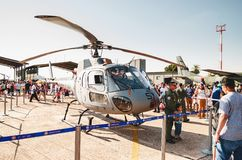 People taking photos with the Navy helicopter: Marinha N-7057. Campo Grande, Brazil - September 09, 2018: People at the military air base to visit the Portoes stock photos
