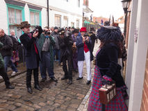 People taking photos of participants in Whitby Goth Weekend event. Stock Image