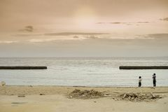 People taking the picture on the beach with endless seascape and sunset in background stock image