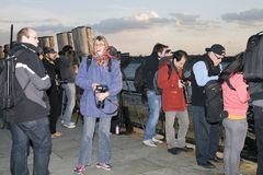 People taking pictures outdoors Royalty Free Stock Image