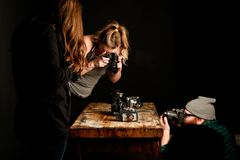 People Taking Pictures of Vintage Cameras Royalty Free Stock Images