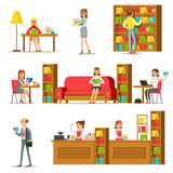 People Taking And Reading Books In Library Set Of Illustrations Stock Images