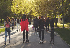 People Taking A Walk in Izvor Park Stock Image