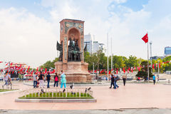 People on Taksim square near Republic Monument stock photos