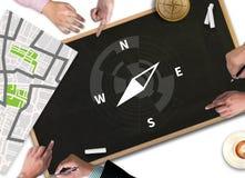 People talk Adventure Compass Longitude Latitude Navigation Dire Stock Images