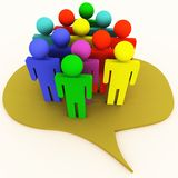 People talk bubble. People figures in a talk bubble, 3d render, shows conversation concept royalty free illustration