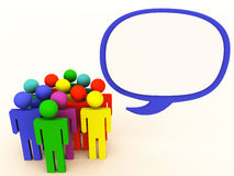 People talk bubble. A chat or talk bubble showing common dialogue by a group of people from different origin as shown by different color figures Royalty Free Stock Photography
