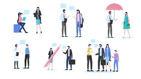 People Talk Man Woman Dialog Doctor Patient Meet. People Talk Man Woman Dialog Office Worker Discussion Doctor Patient Meeting Family Contract Sign Vector stock illustration