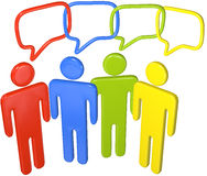People talk social media in 3D speech link. People in colors talk social media in 3D speech bubbles linked in a chain Stock Photos