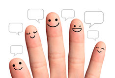People talk in speech bubbles, isolated with clipping paths. Soc. Happy finger, isolated with clipping paths on white background Stock Photography