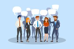 People talk using speech bubble. Group of business people vector illustration