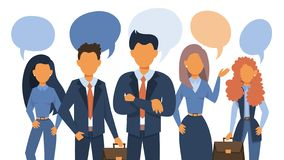 People talk using speech bubble. Group of business people stock illustration