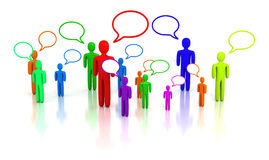 People talking. Colorful people talking - 3D render stock illustration