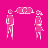 People talking. Pictogram of man and woman talking with overlaping bubbles Stock Image