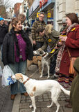 People talking at Anti UKIP market stall in Thanet South. People with dogs at an Anti UKIP and Farage busy stall in Ramsgate, Thanet South during the General Royalty Free Stock Images