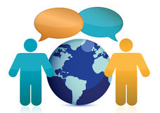People talking around earth illustration Royalty Free Stock Images