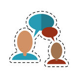 People talking bubble speech communication-dotted line Stock Photos