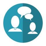 People talking bubble speech communication shadow Stock Photo