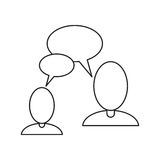 People talking bubble speech communication thin line Stock Photography