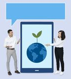 People talking about environmental issues royalty free stock photography