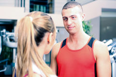 People talking in a gym Royalty Free Stock Images